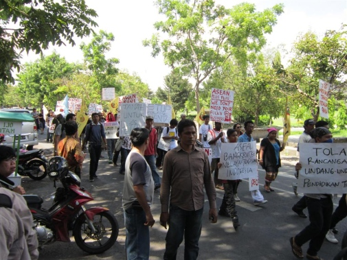 Anti-ASEAN demonstration in connection to the 2011 ASEAN summit in Bali, Indonesia.