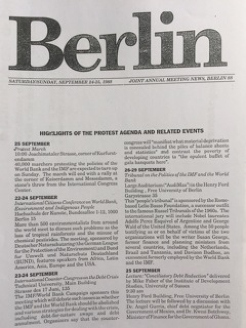 Photo: Protest Agenda and Related Events, Berlin 24-25 September 1988.